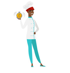 african-american chef cook holding alarm clock vector image