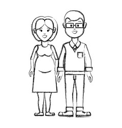 Silhouette couple man with glasses and woman vector