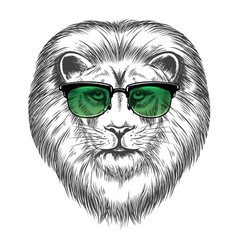 Hipster lion in sunglassesprint design vector