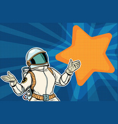 female astronaut opened his arms dream star vector image