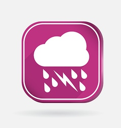 Cloud rain lightning color square icon vector
