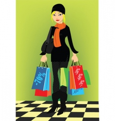 Lady with shopping vector