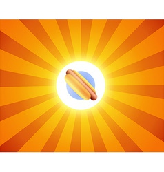 Hot dog on orange background vector