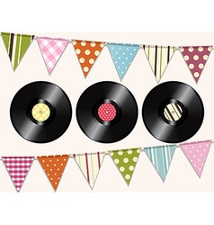 Vintage vinyl records and bunting background vector