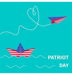 Paper boat and plane patriot flat vector