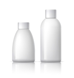 Realistic white plastic cosmetics bottle vector