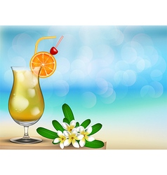 Drink juice with floral on the table vector