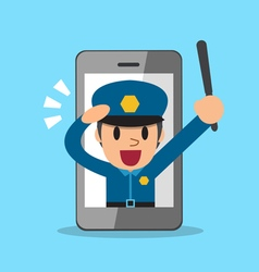 Cartoon policeman and smartphone vector