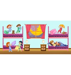 Children sleeping in bedroom vector