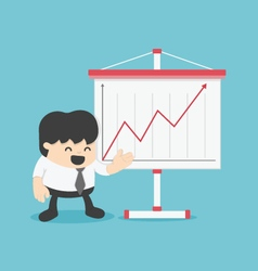 Businessman and presenting business growth chart vector