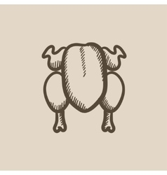 Raw chicken sketch icon vector