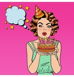 Pretty happy girl blowing candles on birthday cake vector