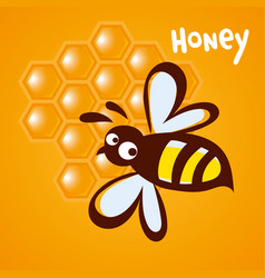 bee icon pretty bee with honeycomb logo image vector image vector image