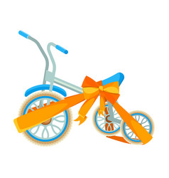 blue bicycle in decorative wrapping ribbon with vector image vector image