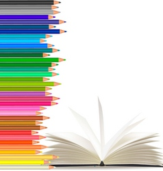 color pencils and open book vector image