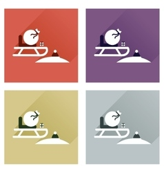 Concept of flat icons with long shadow santas vector