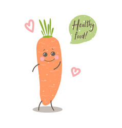 Cute happy smiling carrot with words healthy food vector