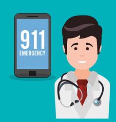 Doctor smartphone 911 emergency vector