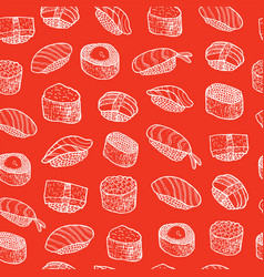Doodle sushi - food seamless pattern vector