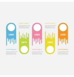 Five step timeline infographic colorful up down vector