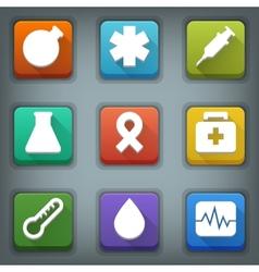 Flat icon set White Symbols Medical vector image vector image