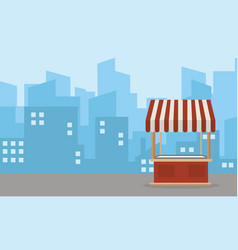 Landscape of street stall flat vector