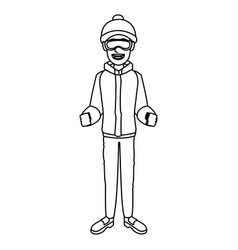 Man with clothes snow hat and goggles vector