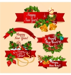 New year red ribbon banners vector