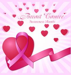 Pink ribbon and hearts vector