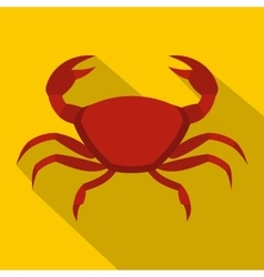 Red crab icon flat style vector image vector image