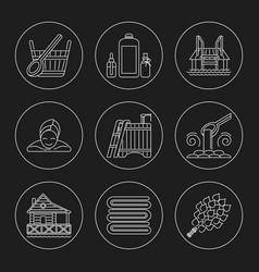 sauna theme icon set vector image vector image