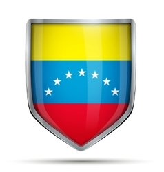 Shield with flag venezuela vector