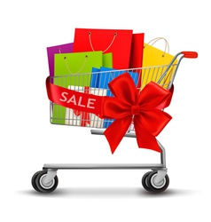 Shopping cart full of shopping bags and a gift bow vector image