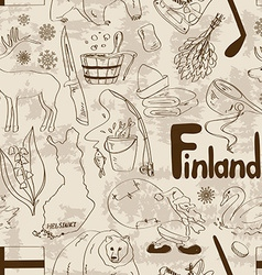 Sketch Finland seamless pattern vector image vector image