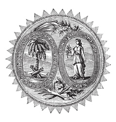 South Carolina Seal engraving vector image vector image