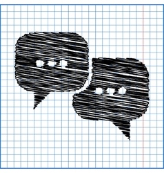 Speach bubles icon with pen effect on paper vector
