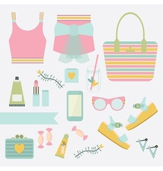 Summer women fashion icon set vector