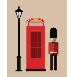 Telephone lamp soldier london england design vector