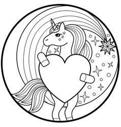 Unicorn round print vector