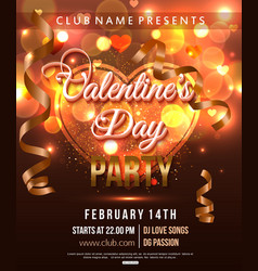 Valentines day party flyer with shiny heart and vector