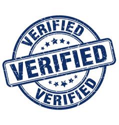 Verified blue grunge round vintage rubber stamp vector