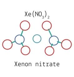 Xenon nitrate XeN2O6 molecule vector image vector image