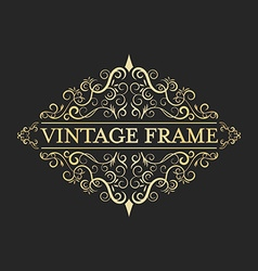 Vintage golden frame in vintage style calligraphic vector