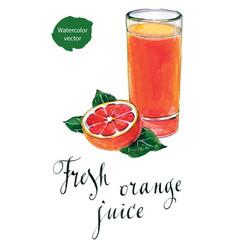 Glass of orange juice with orange vector