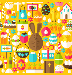 Yellow easter seamless pattern vector