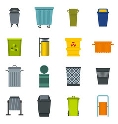 garbage container icons set in flat style vector image