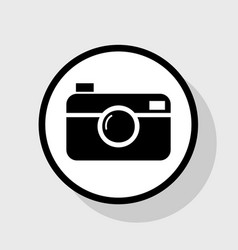 Digital photo camera sign  flat black icon vector