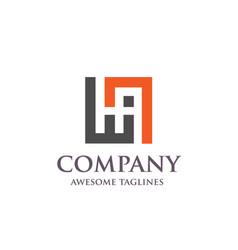 creative letter ha square logo vector image
