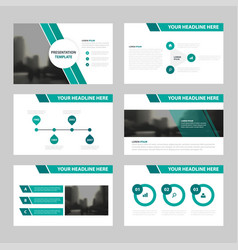 Green abstract presentation templates vector