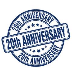 20th anniversary blue grunge stamp vector